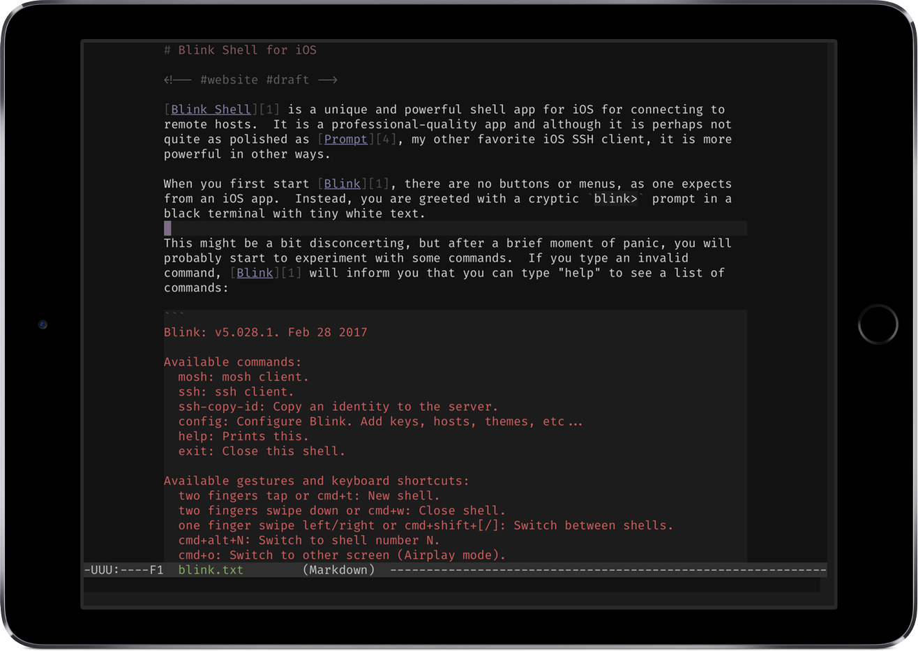 Markdown Mode in Emacs on iPad via Blink Shell