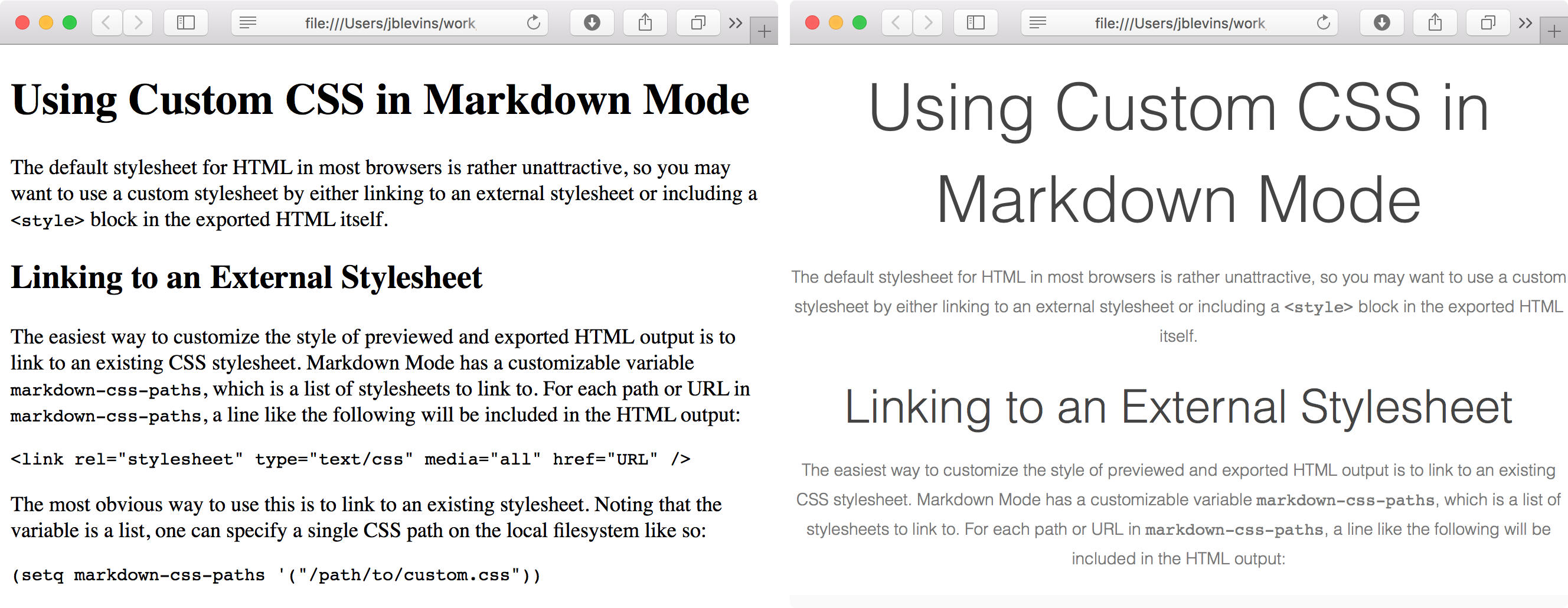 Custom CSS in Markdown Mode Output