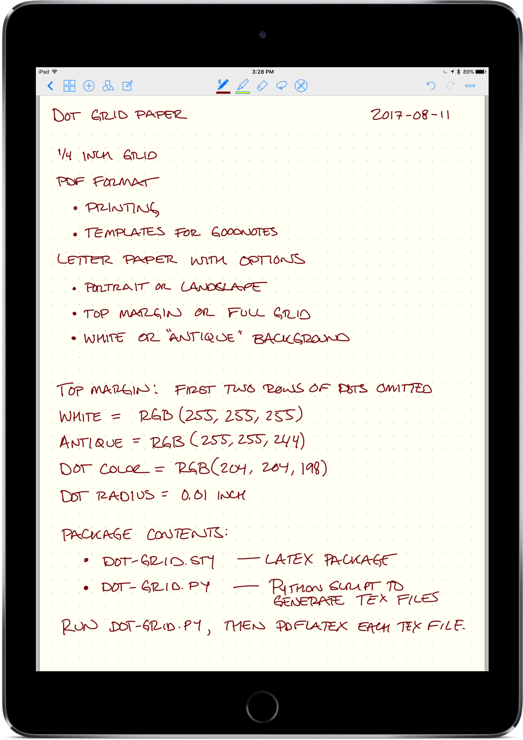 Dot Grid Paper Template in GoodNotes on iPad