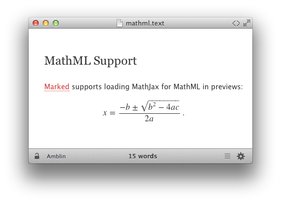 MathML in a Marked preview