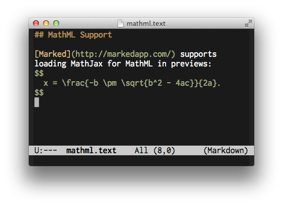 Markdown and LaTeX source code in Emacs