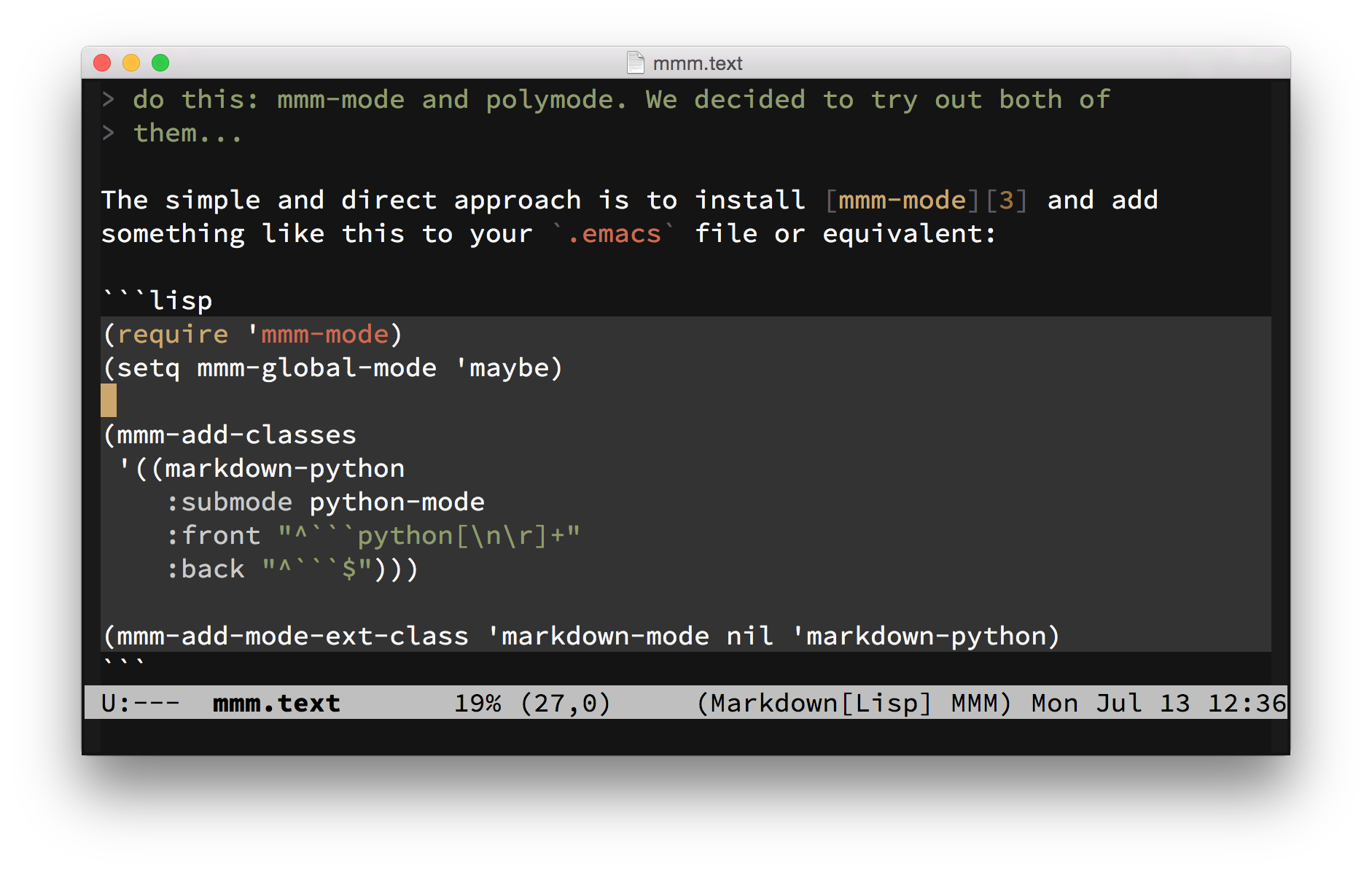 Syntax highlighting for code blocks in emacs markdown mode markdown mode and mmm mode in action yelopaper Image collections