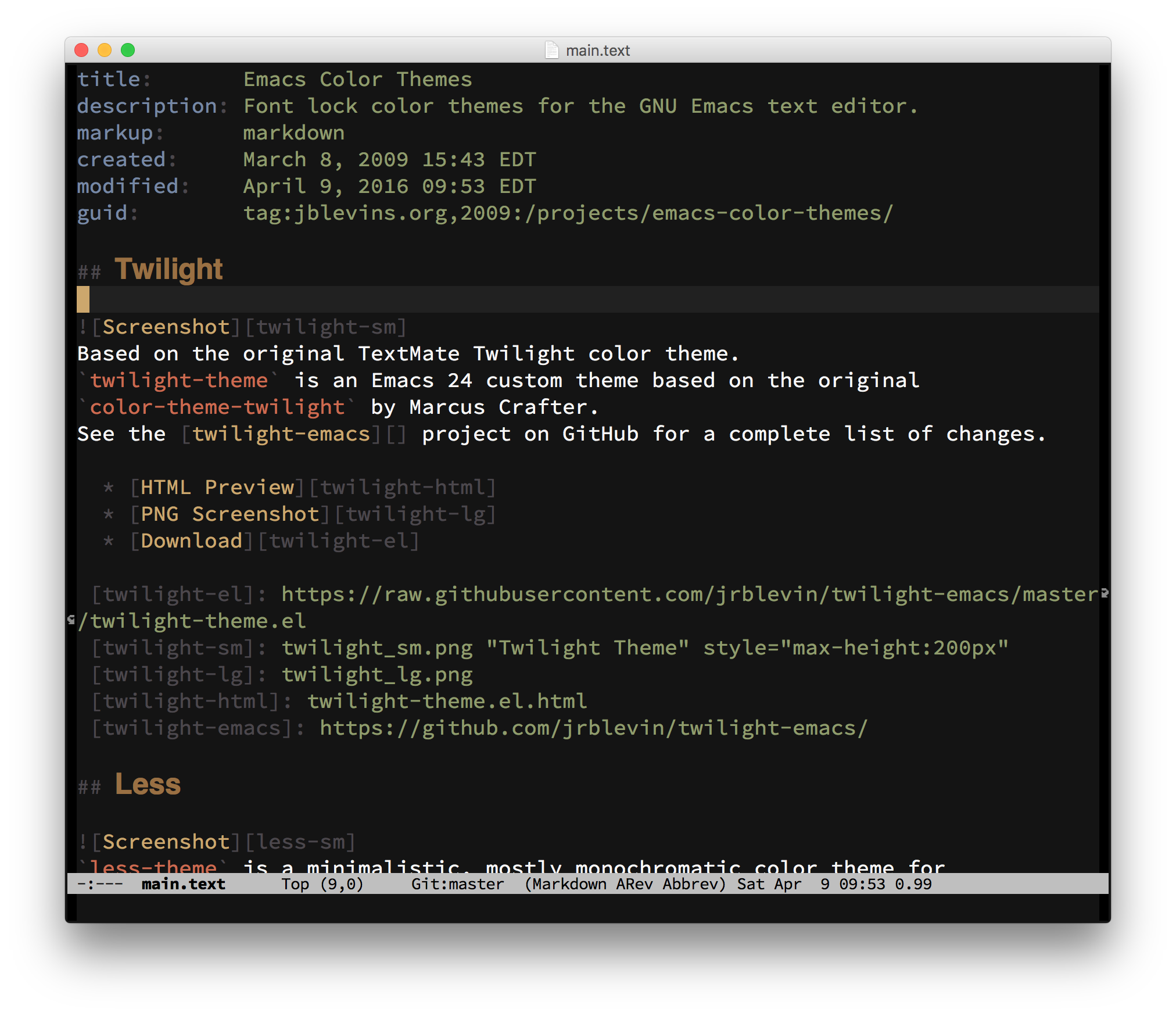 emacs color themes