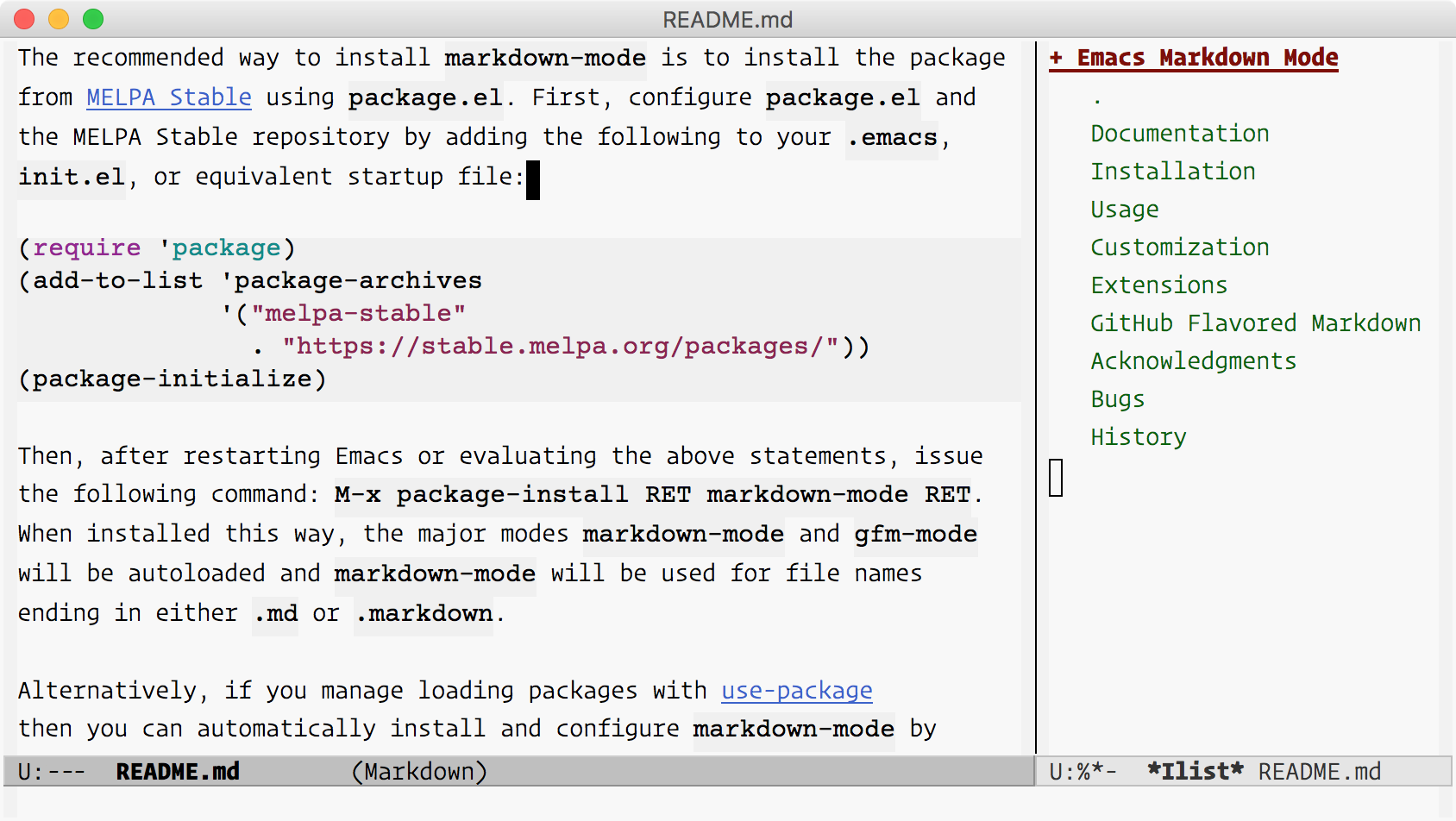 Markdown Mode Screenshot